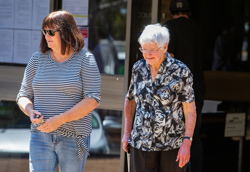 Ben Cousins' Grandmother (grey hair) leaving Armadale District Court today, Wednesday 28 October 2020, pic Tony McDonough