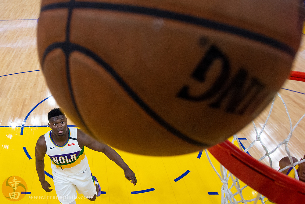 February 23, 2020; San Francisco, California, USA; New Orleans Pelicans forward Zion Williamson (1) watches the basketball during the first half against the Golden State Warriors at Chase Center.
