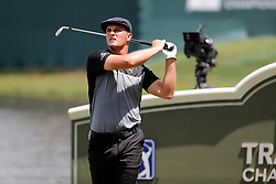June 22, 2018 - Cromwell, CT, U.S. - CROMWELL, CT - JUNE 22: Bryson DeChambeau of the United States watches his drive in 16 during the Second Round of the Travelers Championship on June 22, 2018, at TPC River Highlands in Cromwell, Connecticut. (Photo by Fred Kfoury III/Icon Sportswire) (Credit Image: © Fred Kfoury Iii/Icon SMI via ZUMA Press)