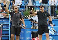 Tennis - 2017 Aegon Championships [Queen's Club Championship] - Day Seven, Sunday<br /> <br /> Men's Doubles, Final<br /> Jamie Murray [GBR] and Bruno Soares [Bra ]vs. Julien Benneteau [Fra] ans Edouard Roger - Vasselin [Fra]<br /> <br /> Jamie Murray [GBR] and Bruno Soares celebrate their victory on Centre Court <br /> <br /> COLORSPORT/ANDREW COWIE