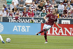 April 29, 2018 - Commerce City, Colorado - Colorado Rapids defender Danny Wilson (4) passes the ball up field in the second half of action in the MLS soccer game between Orlando City SC and the Colorado Rapids at Dick's Sporting Goods Park in Commerce City, Colorado (Credit Image: © Carl Auer via ZUMA Wire)