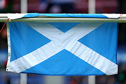 The Scotland flag on the cross bar before the NatWest 6 Nations match at the Stadio Olimpico, Rome.