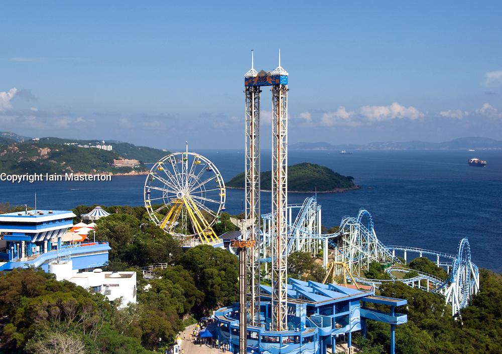 View over Ocean Park amusemen and Theme Park in Hong Kong China