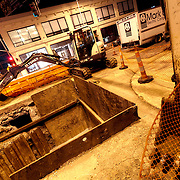Utility alterations in preparation for Kansas City streetcar line construction. KCP&L vault modifications.