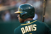 Oakland Athletics left fielder Khris Davis (2) warms up in the batter's box against the San Francisco Giants at Oakland Coliseum in Oakland, California, on July 31, 2017. (Stan Olszewski/Special to S.F. Examiner)
