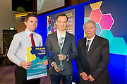 27/01/2014 SCCUL Enterprise Award<br /> Entertainment, Media & Leisure<br /> Winner Hillwalk Tours<br /> <br /> The owner of this company grew up on a farm in Kilkenny- before going on to study business and French in University.   A brief flirtation with journalism followed which ended when he noticed that using his press pass to gain free entry to sports events was more enjoyable to reporting on them.<br /> Hiking trips in Malaysia, New Zealand and South America reignited a dormant passion for the great outdoors and on his return to Ireland provided the inspiration for a new business.  He set up his new venture in 2009 from a bedroom in his Mum's house. <br /> <br /> Turnover has more than doubled every year from an initial €37,000 in 2009.<br /> Their work force has grown from one person in March 2011 to 11 full time staff at present. They cite the dedication and passion of their staff in providing a high level of service to his customers as one of the key strengths of the business. <br /> What do they do?<br /> This business services tourist clients visiting Ireland from North America, Mainland Europe and Great Britain and offers long distance, self guided walking tours in the UK and Ireland.. <br /> The winner is Hill Walk Tours and founder James Byrne seen here with Anthony Barrettt (lhs) and Pat O'Sullivan SCCUL.<br /> <br /> Their prize is<br /> •specially commissioned piece of sculpture from locally based sculptor Liam Butler<br /> •€1000 cash<br /> •Full page Business profile worth €1250 in the Galway Independent SCCUL Enterprise Awards Souvenir Supplement which will be published  .<br /> Photo:Andrew Downes