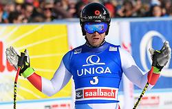 13.02.2020, Zwölferkogel, Saalbach Hinterglemm, AUT, FIS Weltcup Ski Alpin, Abfahrt, Herren, im Bild Mauro Caviezel (SUI) dritter Platz // Mauro Caviezel of Switzerland third place reacts after his run for the men's Downhill of FIS Ski Alpine World Cup at the Zwölferkogel in Saalbach Hinterglemm, Austria on 2020/02/13. EXPA Pictures © 2020, PhotoCredit: EXPA/ Erich Spiess