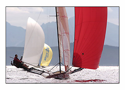 The 2004 Skiff Nationals at Largs held by the SSI.<br /> Base 1 helmed by Rob Dulson<br /> <br /> <br /> Marc Turner / PFM Pictures