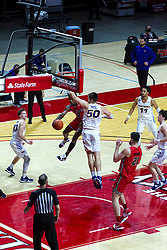 NORMAL, IL - February 27: DJ Horne passes off to Dusan Mahorcic when he encounters Austin Phyfe on his way up to the hoop during a college basketball game between the ISU Redbirds and the Northern Iowa Panthers on February 27 2021 at Redbird Arena in Normal, IL. (Photo by Alan Look)
