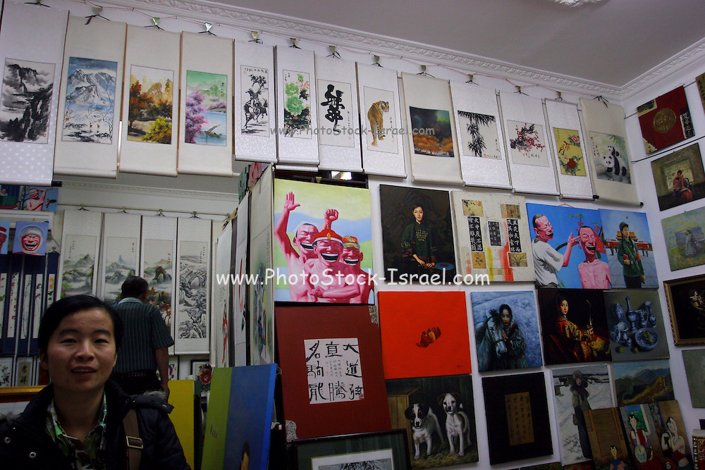 China, Beijing, Chinese students are selling original and copied paintings of modern and classic chinese art in Beijing.