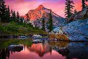 High Box peak seen from a tarn at Rampart Lakes in the Alpine Lakes Wilderness area of Washington state