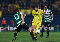 February 21, 2019 - Villarreal, Castellon, Spain - Alfonso Pedraza of Villarreal CF and Stefan Ristovski of Sporting Lisboa during the UEFA Europa League Round of 32 Second Leg match between Villarreal and Sporting Lisboa at Estadio de La Ceramica on February 21, 2019 in Vila-real, Spain. (Credit Image: © AFP7 via ZUMA Wire)