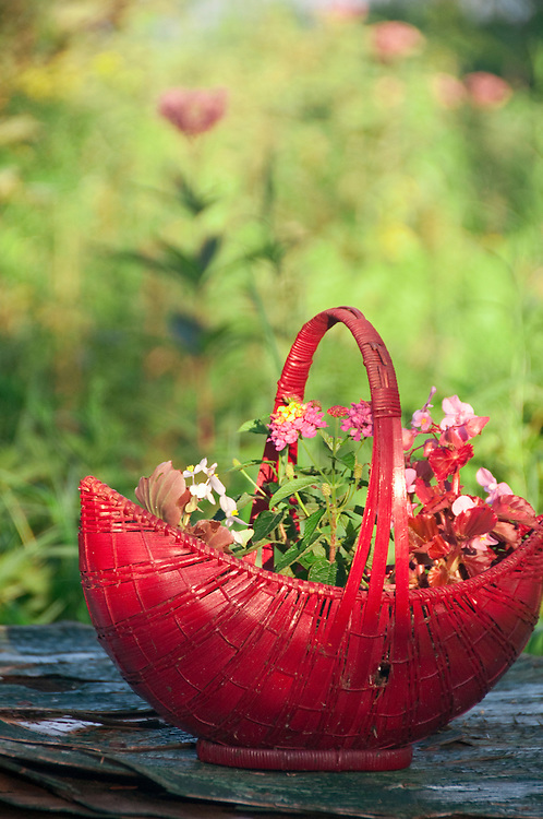 Flower basket details at the Republic Island Cottage  on the Michigamme River near Republic Michigan.