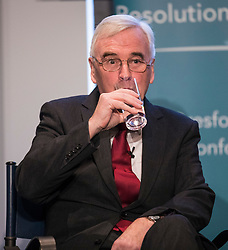 © Licensed to London News Pictures. 22/02/2018. London, UK. Shadow Chancellor John McDonnell MP takes a sip of water after delivering a speech about inequality and prospects for growth in the British economy at the Resolution Foundation in Central London.Photo credit: Rob Pinney/LNP