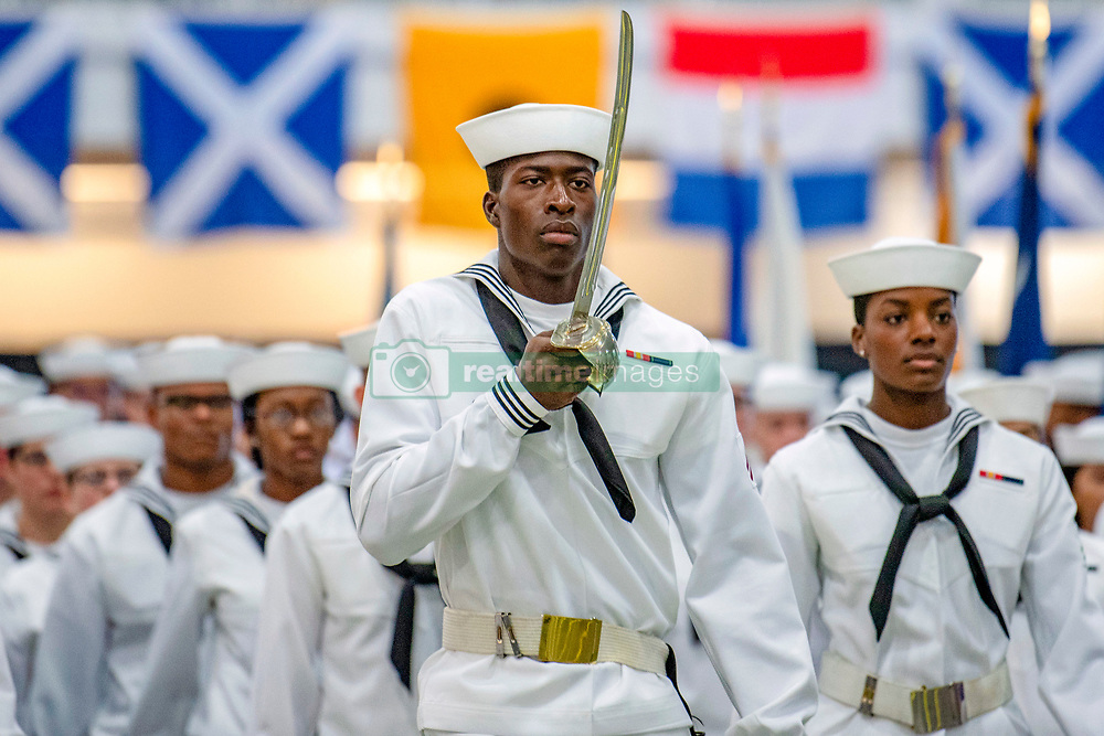 180928-N-PL946-1198<br /> GREAT LAKES, Ill. (Sept. 28, 2018) Sailors march inside Midway Ceremonial Drill Hall during their pass-in-review graduation ceremony at Recruit Training Command. More than 30,000 recruits graduate annually from the Navy's only boot camp. (U.S. Navy photo by Communication Specialist 2nd Class Spencer Fling/Released)
