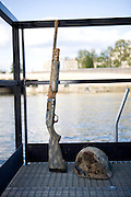 Paris, France. 30 Avril 2009..Brigade Fluviale de Paris..Quai Saint Bernard (5eme Arrondissement).Objets trouvés en entrainement de plongee...Paris, France. April 30th 2009..Paris fluvial squad..Quai Saint Bernard (5th Arrondissement).Found during a scuba diving training.