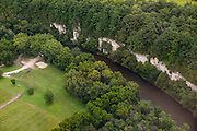 Aerial view of the Chimney Roack Campground and the Upper Iowa River bluffs in northeast Iowa on a beautiful summer day.