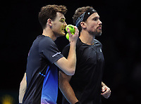 Tennis - 2018 Nitto ATP Finals at The O2 - Day Two<br /> <br /> Mens Doubles : Juan Sebastian Cabal (COL) and Robert Farah (COL) v Jamie Murray (GBR) and Bruno Soares (BRA)<br /> <br /> Jamie Murray and Bruno Soares <br /> <br /> COLORSPORT/ANDREW COWIE
