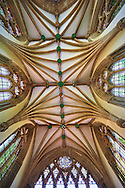 """Vaulted ceiling of the chapel of the Bishops Palace of the the medieval Wells Cathedral built in the Early English Gothic style in 1175, Wells Somerset, England . Its Gothic architecture is mostly in Early English style of the late 12th – early 13th centuries. Building began about 1175 at the east end with the choir. Historian John Harvey sees it as Europe's first truly Gothic structure. Its Early English front with 300 sculpted figures, is seen as a """"supreme triumph of the combined plastic arts in England"""".<br /> <br /> Visit our MEDIEVAL PHOTO COLLECTIONS for more   photos  to download or buy as prints https://funkystock.photoshelter.com/gallery-collection/Medieval-Middle-Ages-Historic-Places-Arcaeological-Sites-Pictures-Images-of/C0000B5ZA54_WD0s"""