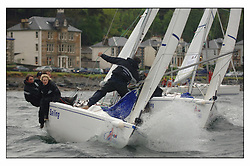 RYA Volvo Keelboat match racing off the harbour entrance in the evening's...
