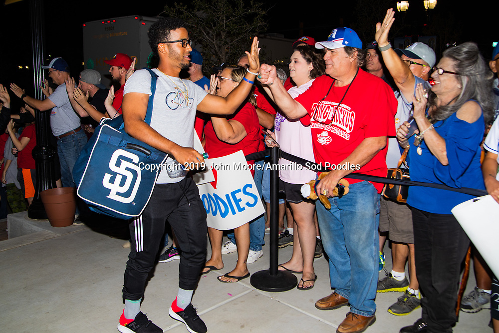 Amarillo Sod Poodles infielder Ivan Castillo (2) greets fans during the homecoming celebration after the Sod Poodles won the Texas League Championship early on Monday, Sept. 16, 2019, at HODGETOWN in Amarillo, Texas. [Photo by John Moore/Amarillo Sod Poodles]