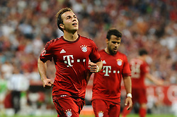 04.08.2015, Allianz Arena, Muenchen, GER, AUDI CUP, FC Bayern Muenchen vs AC Mailand, im Bild Freude bei Mario Goetze (FC Bayern Muenchen) nach seinem Tor zum 2:0, rechts Juan Bernat (FC Bayern Muenchen) // during the 2015 AUDI Cup Match between FC Bayern Muenchen and AC Mailand at the Allianz Arena in Muenchen, Germany on 2015/08/04. EXPA Pictures © 2015, PhotoCredit: EXPA/ Eibner-Pressefoto/ Stuetzle<br /> <br /> *****ATTENTION - OUT of GER*****