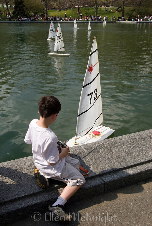 Racing model boats at the Conservatory Water in Central Park