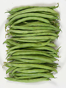 overhead view of a stack of string beans