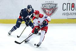 Brule Gilbert of KHL Medvsecak Zagreb and Artyom Sergeyev of CSKA Moscow during KHL League ice hockey match between KHL Medvescak Zagreb and CSKA Moscow, on November 16, 2015 in Dvorana Sportova, Zagreb, Croatia. (Photo By Matic Klansek Velej / Sportida)