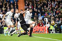 Real Madrid Pepe, Sergio Ramos and Alvaro Morata and Deportivo de la Coruña Raul Albentosa during La Liga match between Real Madrid and Deportivo de la Coruña at Santiago Bernabeu Stadium in Madrid, Spain. December 10, 2016. (ALTERPHOTOS/BorjaB.Hojas)