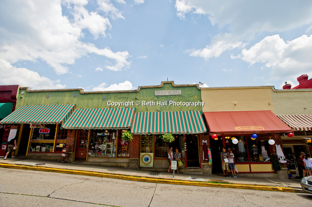 Stock photography of stores that line Spring Street in Eureka Springs, Arkansas.