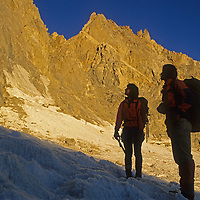 Mountaineers stand on the Palisade Glacier in California's Sierra Nevada.