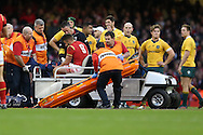Rhys Webb of Wales goes off with an injury in the 2nd half. Under Armour 2016 series international rugby, Wales v Australia at the Principality Stadium in Cardiff , South Wales on Saturday 5th November 2016. pic by Andrew Orchard, Andrew Orchard sports photography