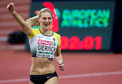 Winner Kristin Gierisch celebrates during the Triple Jump Women Final on day two of the 2017 European Athletics Indoor Championships at the Kombank Arena on March 4, 2017 in Belgrade, Serbia. Photo by Vid Ponikvar / Sportida