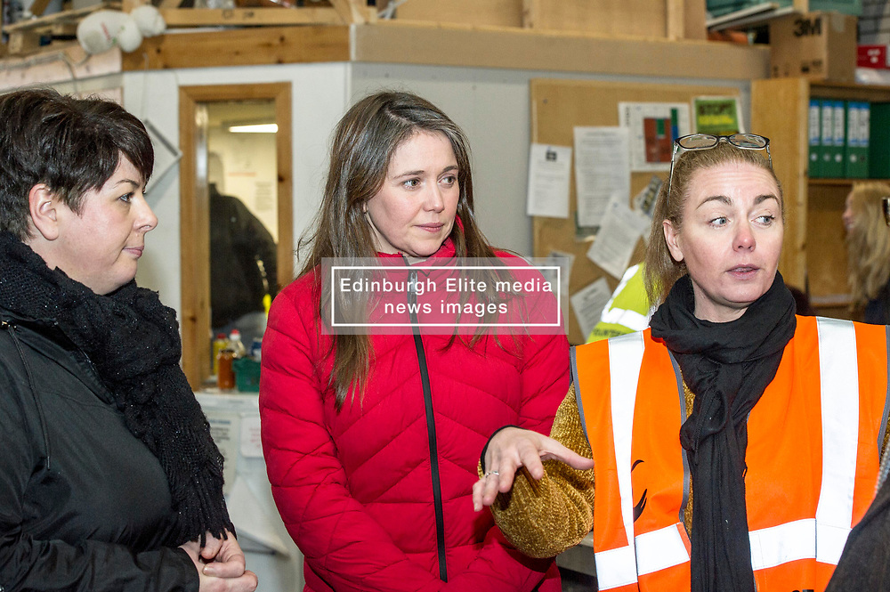 Pictured: Councillor Elena Whitham, Aileen Stewart and Lynne Collie, Depot manager<br /> <br /> Today, Communities Secretary Aileen Campbell was joined by Councillor Elena Whitham, Cosla Community Wellbeing Spokesperson, Kevin Stewart, Minister for Local Government, Housing and Planning and Jon Sparkes Chief Executive of Crisis as she visited Cyrenians' Good Food depot where she met staff at the depot and toured the facility which redistributes surplus food to not-for-profit organisations. <br /> <br /> Ger Harley   EEm 27 November 2018