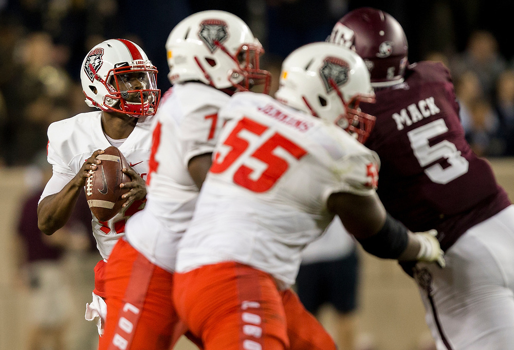 New Mexico quarterback Lamar Jordan (13) looks to pass against Texas A&M during the second quarter of an NCAA college football game on Saturday, Nov. 11, 2017, in College Station, Texas. (AP Photo/Sam Craft)