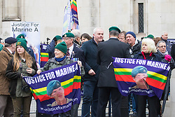 Royal Courts of Justice, London, February 8th 2017. Ex marines and other supporters of Sgt Alexander Blackman - Marine A - outside the Royal Courts of Justice on The Strand in London, where a High Court appeal hearing against his Life sentence imposed by Court Martial following the killing of a wounded Taliban fighter in Afghanistan.