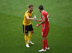 MOSCOW, June 23, 2018  Dries Mertens (L) of Belgium gives a bottle of water to Ali Maaloul of Tunisia during the 2018 FIFA World Cup Group G match between Belgium and Tunisia in Moscow, Russia, June 23, 2018. (Credit Image: © Wang Yuguo/Xinhua via ZUMA Wire)