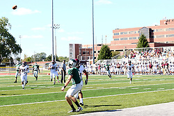 08 September 2012:  Alex Garvey stop to wait for a pass at about the 1 yard line during an NCAA division 3 football game between the Alma Scots and the Illinois Wesleyan Titans which the Titans won 53 - 7 in Tucci Stadium on Wilder Field, Bloomington IL