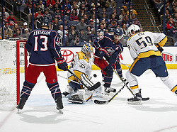 November 7, 2017 - Columbus, OH, USA - The Columbus Blue Jackets' Boone Jenner (38) has his shot stopped by Nashville Predators goalie Pekka Rinne (35) during the third period at Nationwide Arena in Columbus, Ohio, on Tuesday, Nov. 7, 2017. The Predators won, 3-1. (Credit Image: © Kyle Robertson/TNS via ZUMA Wire)