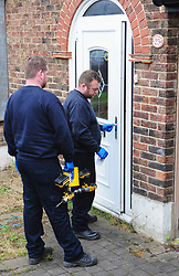 © Licensed to London News Pictures.12/04/2018<br /> HITHER GREEN, UK.<br /> CLEARWAY WORKMEN ARRIVE AT THE PROPERTY AT 3.45PM AND GO IN WITH DRILLS AND WEARING PROTECTIVE GLOVES.<br />  SOUTH PARK CRESCENT,Hither Green <br />  Hither Green Burglary Murder. South Park Crescent,Hither Green.<br />  Home of 78 year old Richard Osborn-Brooks who stabbed a burglar to death in his home.<br /> Photo credit: Grant Falvey/LNP