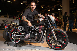 Francisco Ali Manen with his 2007 custom 883 Sportster (upped to 1,250cc) Sportster in the Modified Harley-Davidson class of the AMD World Championship of Custom Bike Building in the Intermot Customized hall during the Intermot International Motorcycle Fair. Cologne, Germany. Sunday October 7, 2018. Photography ©2018 Michael Lichter.