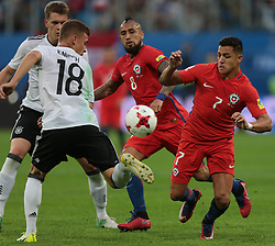 July 2, 2017 - Saint Petersburg, Russia - Joshua Kimmich (L) of the Germany national football team and Arturo Vidal, Alexis Sanchez  (R) of the Chile national football team vie for the ball during the 2017 FIFA Confederations Cup final match between Chile and Germany at Saint Petersburg Stadium on July 02, 2017 in St. Petersburg, Russia. (Credit Image: © Igor Russak/NurPhoto via ZUMA Press)