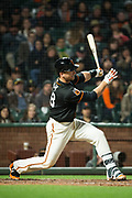 San Francisco Giants catcher Buster Posey (28) swings at a Oakland Athletics pitch at AT&T Park in San Francisco, California, on March 30, 2017. (Stan Olszewski/Special to S.F. Examiner)