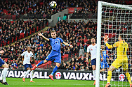 Italy Forward Ciro Immobile (17) takes a shot on goal during the Friendly match between England and Italy at Wembley Stadium, London, England on 27 March 2018. Picture by Stephen Wright.