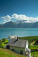 Traditional old houses in Utne, Hardanger Fjord, Vestlandet, Norway, Scandanavia Europe