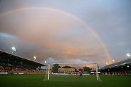 a general view as a rainbow appears over the stadium. Friendly International Womens football, Wales Women v Republic of Ireland Women at Rodney Parade in Newport, South Wales on Friday 19th August 2016.<br /> pic by Andrew Orchard, Andrew Orchard sports photography.