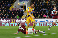 Connor Wickham of Crystal Palace watches the ball hit the net as he scores his teams 1st goal. Premier League match, Burnley v Crystal Palace at Turf Moor in Burnley , Lancs on Saturday 5th November 2016.<br /> pic by Chris Stading, Andrew Orchard sports photography.