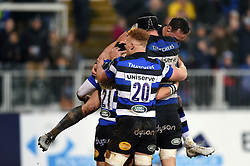 Nathan Charles of Bath Rugby celebrates his second half try with team-mates - Mandatory byline: Patrick Khachfe/JMP - 07966 386802 - 27/01/2018 - RUGBY UNION - The Recreation Ground - Bath, England - Bath Rugby v Newcastle Falcons - Anglo-Welsh Cup