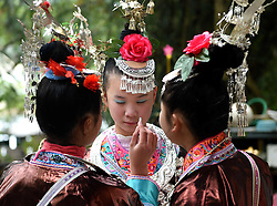 Women of Dong ethnic group make up for a parade celebrating a traditional festival, which falls on the second day of the second month in the Chinese lunar calendar, in Meilin Township under Dong Autonomous County of Sanjiang, south China's Guangxi Zhuang Autonomous Region, March 10, 2016. EXPA Pictures © 2016, PhotoCredit: EXPA/ Photoshot/ Huang Xiaobang<br /> <br /> *****ATTENTION - for AUT, SLO, CRO, SRB, BIH, MAZ, SUI only*****